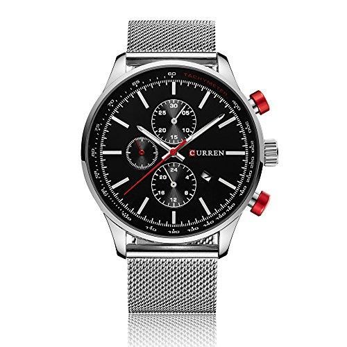 CURREN Herren Quarz Beiläufige Uhr 30M Wasserdicht Mann Geschäfts Armbanduhr Kalender Uhr für Mann -