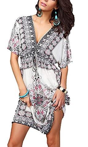 Long White Halter Dress - Minetom Femme Sexy d'été Bohème Robe Manches
