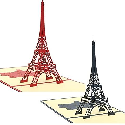 Tutoy Handgemachte 3D Knallen Oben Eiffelturm Grußkarte Geburtstags-Jahrestags-Party Einladungs-Karte