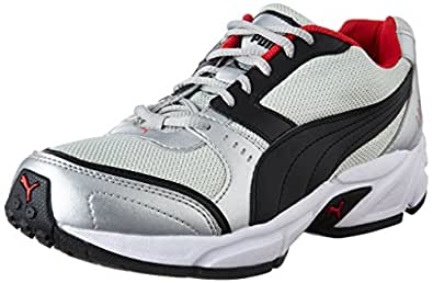Puma Men's Argus DP Puma Silver, Puma Black and High Risk Running Shoes - 10 UK/India (44.5 EU)