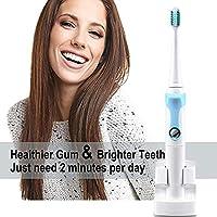 [Nueva versión 2018] Cepillo de dientes eléctrico con soporte de carga inalámbrico Removedor de placa (sin adaptador), Sonic Power Cepillo de dientes Construir en temporizador de 2 Min. Dientes limpios Cepillo de dientes eléctrico Limpiar como dentista Cepillo de dientes Sonic recargable Resistente al agua Totalmente lavable 3 Cabezales de repuesto (azul)