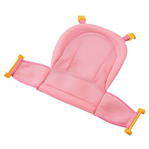 Baby Badewannensitz, Isuper Babybadewanne Unterstützung Einstellbares Verdicktes Anti-Rutsch Badennetz für Neugeborene Baby und Kleinkinder Baby Badezubehör (Rosa)