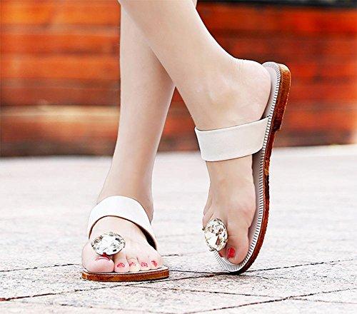 Mme sandales d'été et des pantoufles sandales plates diamant rabat cristal White