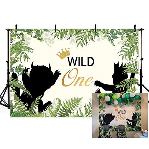 ne Themed 1. Geburtstagsfeier Hintergrund Tiere Fotografie Hintergrund Jungle Safari Grüne Blätter Baby Boy Photo Booth Banner Home Tapete Dekoration Fotostudio Hintergrund ()