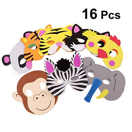 Kostüm Tier Party - YeahiBaby Kinder Tier Gesichtsmaske, Geburtstag Party Favors Dress Up Cosplay Kostüm Requisiten 16 Stücke (zufälliger Stil)