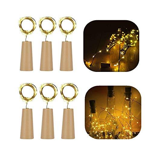 OASMU 6 x 20 LED Lichterketten 2M Flaschenlichter led flaschenlicht Warmweiß Weinflasche Kupferdraht Cork Form flaschenlichterkette korken für hochzeit deko, geburtstag, DIY, Weihnachten