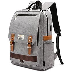 Mochila para portátil, mochila escolar para portátil de 15.6 pulgadas con puerto de carga USB para hombres y mujeres(gris)