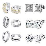 Adramata 6 pares de aretes de aro de acero inoxidable para hombres mujeres cuadrados Huggie CZ pendientes piercing joya