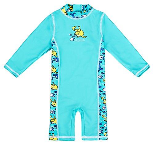 Baby-Badebekleidung langärmliger Einteiler mit UV-Schutz 50+ und Oeko-Tex 100 Zertifizierung in türkis; Größe 74/80 Badeanzug Für Jungen Mit Uv Schutz
