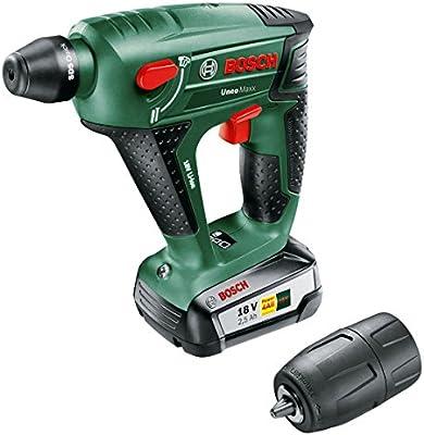 Bosch DIY batería de Hammers uneomaxx, Cargador, rundschaftadapter, 2Vástago SDS Quick, 2Hex–Broca para hormigón broca, 4puntas, maletín (18V, 2,5Ah, 10mm de perforación Diámetro hormigón), 1pieza, 060395230F