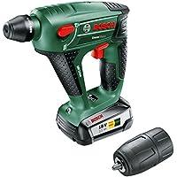 Bosch DIY Akku-Bohrhammer UneoMaxx, Akku, Ladegerät, Rundschaftadapter, 2 SDS-Quick Betonbohrer, 2 Hex-Schaft Bohrer, 4 Bits, Koffer (18 V, 2,5 Ah, 10 mm Bohr-Ø Beton)