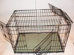 "3 Door Design (Up + Over) 36"" Dog Cage with Divider and Bed by Doghealth"