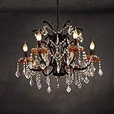 TXDZ Romantischer warmer großer Kristallleuchter Eisen-Kunst-Nostalgie-antike Dekoration-hängende Lichter Europa-edle luxuriöse Deckenleuchte-justierbare hängende helle für Halle-Flur-Kasten-Bekleidungsgeschäft-Kneipen-Wohnzimmer