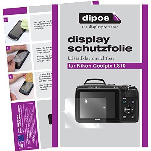 dipos I 2X Schutzfolie klar passend für Nikon Coolpix L810 Folie Displayschutzfolie