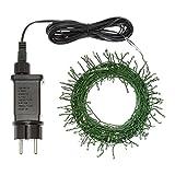 Lichterkette 12 m, 240 Micro LEDs kaltweiß, Memory Controller für Einstellbare Lichtspiele, Grünes Metalldraht, 12V Trafo, Innen/Außen