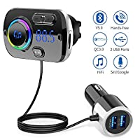 FM Transmitter Bluetooth 5.0,Handsfree Audio Adapter with 2 USB Port Quick Charge QC3.0+ 5V/ 2.4A Radio Adapter Car Kit with Ambient Light,MP3 Player Support Siri,Google,TF Card,AUX,High Compatibility
