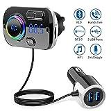 Transmetteur FM Bluetooth 5.0 Adaptateur Radio sans Fil Kit de Voiture Mains Libres, QC3.0 et 5V/2.4A Chargeur Rapid Voiture 2 Ports USB Lumière Colorée Support Siri TF Card Port Audio 3,5mm-Gris