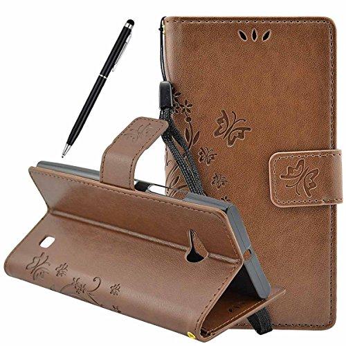 Vanlog Lederhülle Nokia Lumia 730 Bookstyle Case Lumia 735 Handyhülle Flip Brieftasche Schutzhülle Schmetterling Drucken Tasche Etui mit Aufstellfunktion, Innenfächer und Magnetverschluss Hülle (Braun)