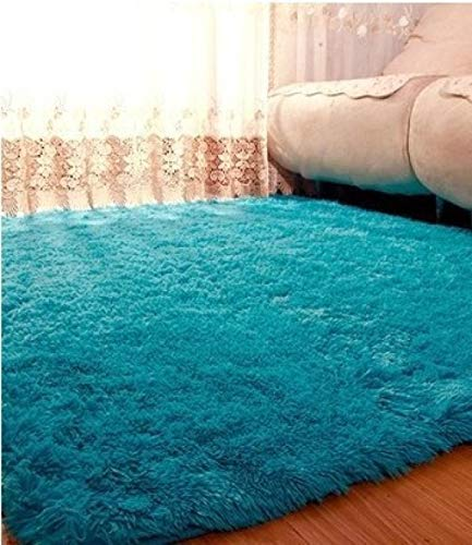 Teppich Fußmatte Thickened Washed Silk Hair Non-Slip Carpet Living Room Coffee Table Bedroom Bedside Yoga mat, Sky Blue_120*160