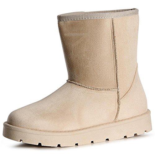 topschuhe24 1058 Damen Stiefeletten Boots Stiefel Beige