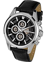 Jacques Lemans Men's Quartz Watch with Silver Dial Chronograph Display and Black Leather Strap