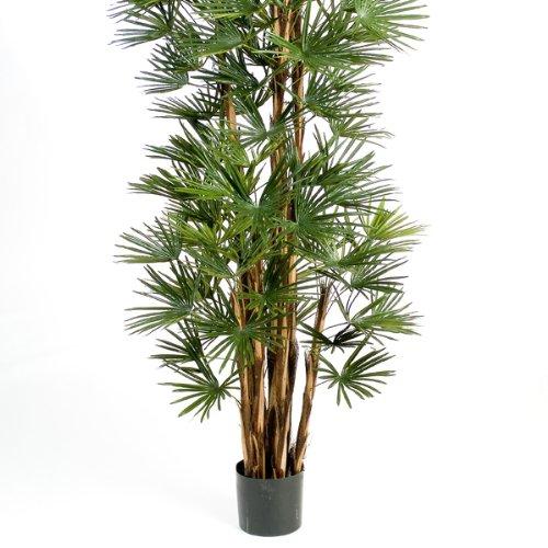 artplants – Deko Steckenpalme SERENA mit 173 Blättern, DELUXE, 210 cm – Künstliche Rhapis Palme / Kunstbaum