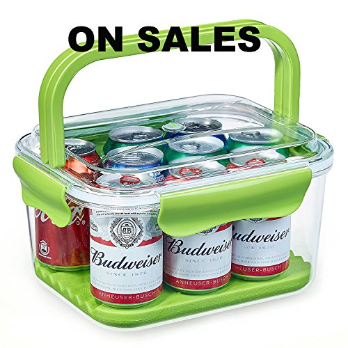 Frischhaltedosen, Aufbewahrungsbox, Vorratsdosen mit Griffen und abnehmbarem Eisbeutel, 100% BPA-frei, luftdicht, auslaufsicher für Lebensmittel, Obst, Getränke, Küchenheftklammern und mehr (6L, Grün) (2 Tasse Glas Vorratsbehälter)