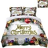 HUANZI Bettbezug-Set Frohe Weihnachten Ballon Dekoration Print-Effekt 3 StüCk BettwäSche Mit 2 KissenbezüGen, White, Single 150 * 200cm