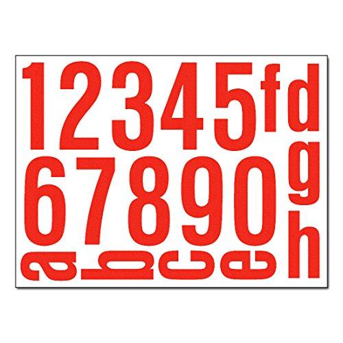Hausnummern Aufkleber - Set mit Nummern, Ziffern & Buchstaben zum Aufkleben (reflektierend oder matt) (rot-reflex) (Buchstaben Wandtattoos Und Nummer)