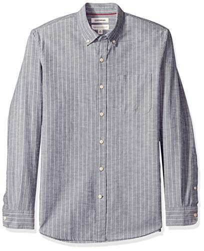 Nadelstreifen Button-down-shirt (Goodthreads Standard-Fit Long-Sleeve Pinstripe Chambray Freizeithemd, Blau (Denim Stripe Den), Gr. X-Large)