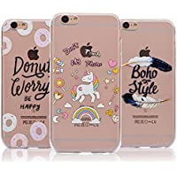 [3 PCS] iPhone 6S Case [Slim & Lightweight], Full Edge Protective Case For iPhone 6, Vandot 3 Pieces Flexible Soft TPU Crystal Transparent Clear Cover Anti-Scratch Exact Fit Shockproof Practical Back Cover Case for iPhone 6S 6 4.7 inch - Donuts / Unicorn / Boho Feathers