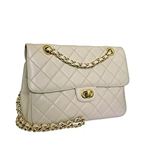 Carbotti Designer Quilted Leather Shoulder Handbag - Dark Cream