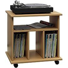 vcm 911762 retal mobilier pour disque vinyle boismdf htre 59 x 60 x 45