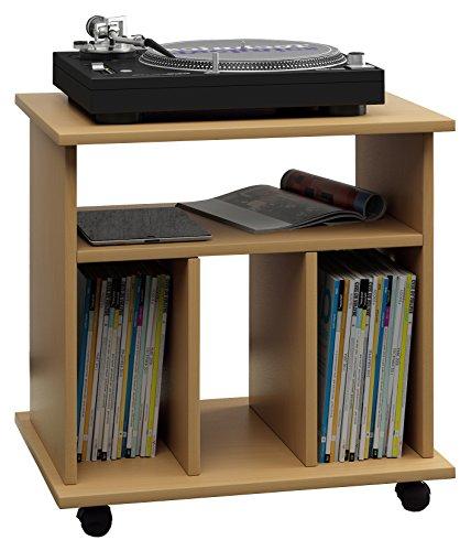 VCM LP Möbel Regal Schallplatten Phonomöbel Medienregal Schrank Stand Schallplattenspieler Buche 45 x 60 x 59 cm Retal