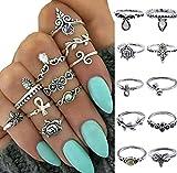 Gono moda mujeres anillo de nudillos Midi juego de anillos de punta de dedo Punk estilo, 10pcs B, talla única