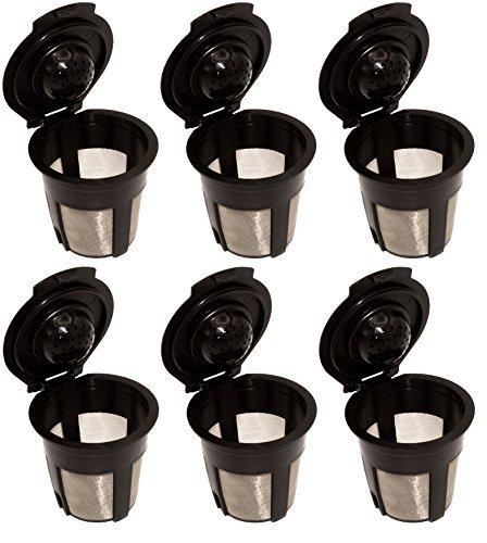 o Single wiederverwendbar nachfüllbar Kaffee Filter Pods für Keurig 1.0Kaffeemaschine System 6 Pack schwarz ()