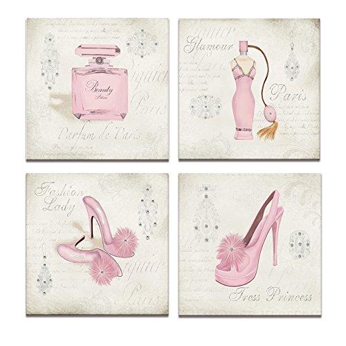 Contemporary Print Kleid (Leinwand Wand Art, Fashion Kleid, High Heels, Parfüm, Kleidung Shop, Schuh Store Wanddekoration, Leinwand Prints mit Rahmen, einzigartiges Design)