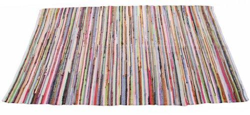 Homescapes Chindi Flickenteppich Läufer 120 x 180 cm Bunt aus 100% Recycelter Baumwolle - Fleckerlteppich Bunt