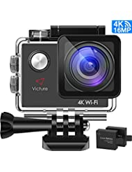 Victure 4K WiFi Caméra Sport 20MP Ultra HD, Caméra d'Action Étanche 30M, Caméscope Plongée Sous-Marine avec Grand Angle 170°, Ecran LCD 2.0'', 26 Aaccessoires et 2 Batteries (Gris)