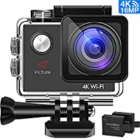 Victure 16MP Ultra HD Action Camera 4K WIFI Sports Helmet Cam 30M/98ft Underwater Diving Waterproof Camcorder with 26 Mounted Accessories, 2