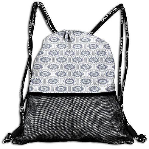 RAINNY Drawstring Backpacks Bags,Comb Design Kikko Tortoise Shell Pattern Western Asian Influences Hexagon Motifs,5 Liter Capacity,Adjustable
