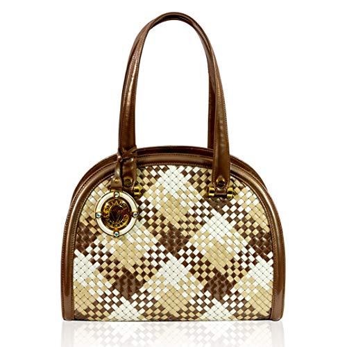 Valentino Orlandi Damen Mittelgroße Handtasche Italienische Designer-Handtasche aus echtem Leder mit Griff und Bowling-Tasche im karierten Intrecciato-Design