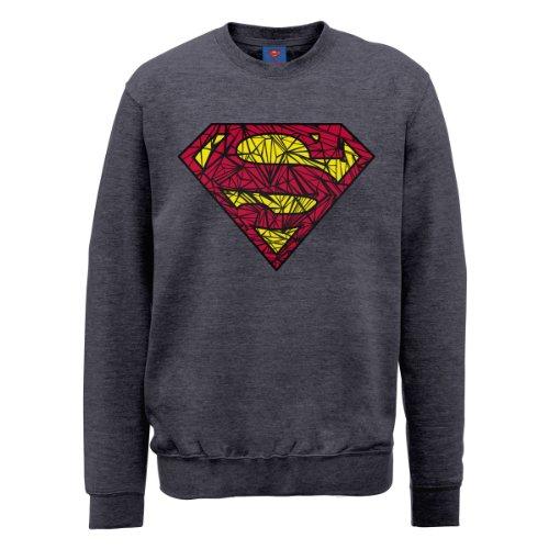 DC Universe Herren Sweatshirt Dc0000956 Dc Comics Official Superman Shatter Logo Grau - Steel Grey