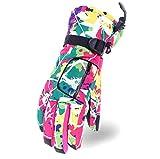 Jaimelavie Wasserdichte Skihandschuhe, Damen Winter Thinsulate Handschuhe für Skifahren ganz warm Schnee Handschuhe, Pink, Mittelfingerlaenge 8.3cm