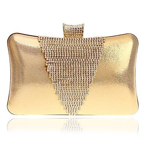HAPPYTIMEBELT Glitter Hard case Wedding Clutch with Rhinestone Inlaid(Golden)