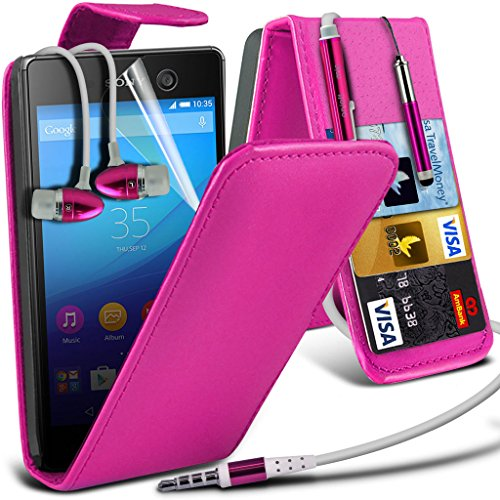 Étui pour Sony Xperia M5 / Sony Xperia M5 E5603, E5606, E5653 Titulaire de téléphone Case voiture universel Mont Cradle Dashboard & pare-brise pour iPhone yi -Tronixs Leather Flip + Earphones ( Hot Pink )