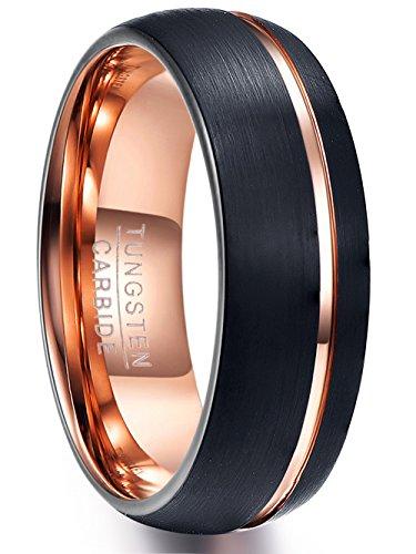 NUNCAD Wolfram Ring Herren/Damen schwarz + Rosegold matt, Unisex Fashion Ring 8mm für Hochzeit, Verlobung und Alltag, Größe 59 (19)