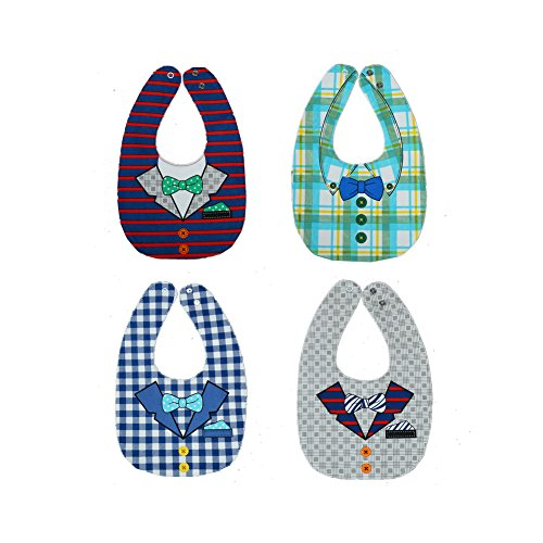 Baby Lätzchen Wasserdicht Babylätzchen Weiches Baumwolle Baby-Lätzchen Set Beidseitig Baby Bibs Mit Druckknöpfen Lätzchen für Kinder Baby Neugeborenes Geschenk 3-24 Monaten (4er Set Krawatte) -