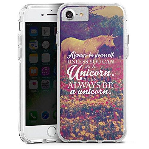 Apple iPhone 7 Plus Bumper Hülle Bumper Case Glitzer Hülle Einhorn Unicorn Phrases Bumper Case transparent