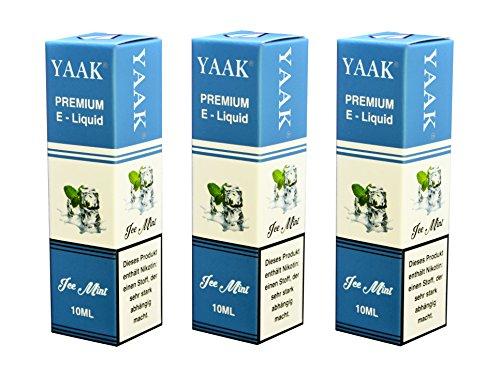 YAAK® Premium E-Liquid / Liquid 3 x 10 ml Eisbonbon Minze ohne Nikotin / E-Zigaretten, Elektrische-Zigarette, E-Shisha / Geschmacksaroma Ice Mint Ziel Nikotin